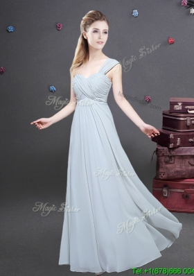 Elegant One Shoulder Ruched Decorated Bodice Bridesmaid Dress in Chiffon