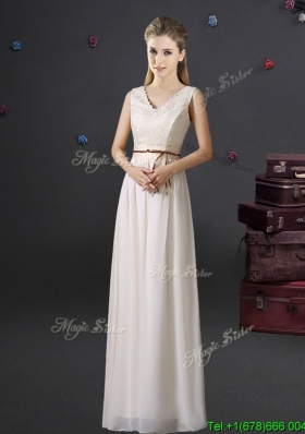 Cheap V Neck Belted and Laced Off White Bridesmaid Dress in Chiffon