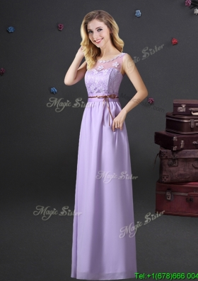 Popular Applique and Laced Bridesmaid Dress with See Through Scoop