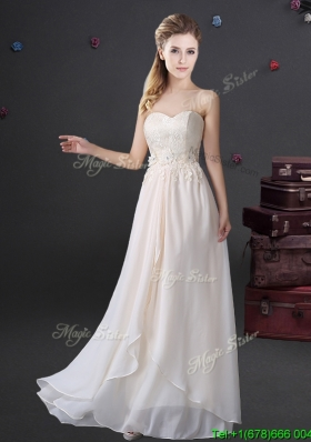 Beautiful Applique and Laced Sweetheart Long Bridesmaid Dress in Chiffon