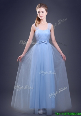 Affordable Straps Empire Light Blue Bridesmaid Dress with Bowknot and Ruching