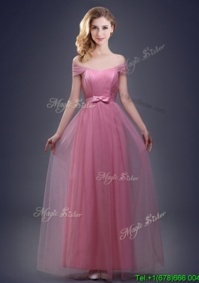 Fashionable Off the Shoulder Tulle Bridesmaid Dress with Bowknot