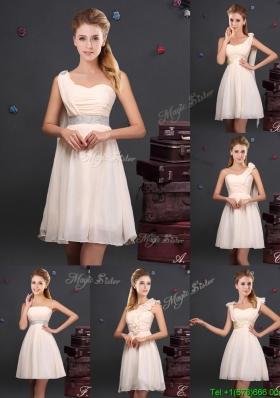 Discount Empire Chiffon Ruched Short Prom Dress in Champagne