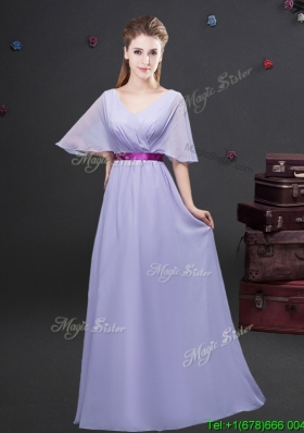 Exclusive Belted and Ruched Lavender Prom Dress with Half Sleeves