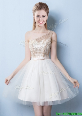 Beautiful One Shoulder Sequined and Bowknot Champagne Dama Dress