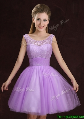 Unique See Through Laced and Ruched Lilac Dama Dress in Tulle