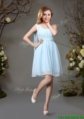 Best Beaded Top One Shoulder Chiffon Dama Dress in Light Blue