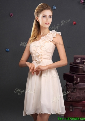 Romantic Chiffon Champagne Dama Dress with Ruching and Ruffles
