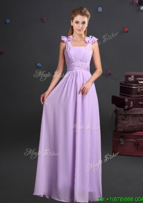 Wonderful Straps Handcrafted Flowers Chiffon Dama Dress in Lavender