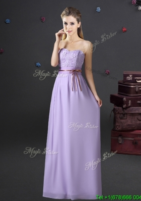 Exquisite Belted and Applique Laced Long Dama Dress in Lavender