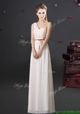Gorgeous Empire One Shoulder Applique Dama Dress in Off White
