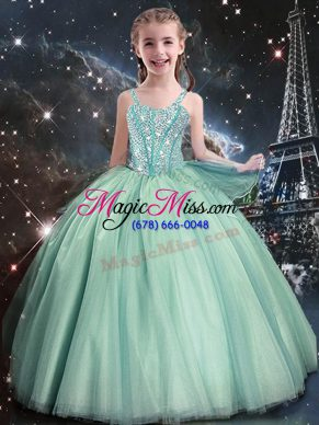 On Sale Turquoise Ball Gowns Straps Sleeveless Tulle Floor Length Lace Up Beading Flower Girl Dress