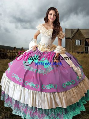 Pretty Multi-color Ball Gowns Embroidery and Ruffled Layers 15 Quinceanera Dress Lace Up Taffeta Sleeveless