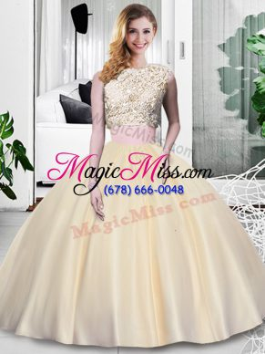 Scoop Sleeveless Taffeta 15 Quinceanera Dress Lace and Appliques and Ruching Zipper