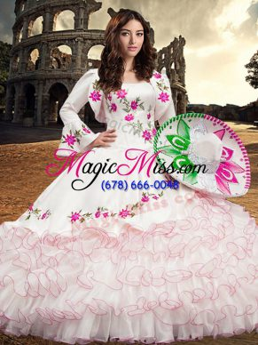 White Lace Up Vestidos de Quinceanera Embroidery and Ruffled Layers Long Sleeves Floor Length