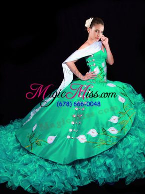 Elegant Turquoise Sweetheart Lace Up Embroidery and Ruffles Sweet 16 Dress Brush Train Sleeveless