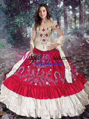 Red Vestidos de Quinceanera Military Ball and Sweet 16 and Quinceanera with Embroidery and Ruffled Layers Off The Shoulder Sleeveless Lace Up