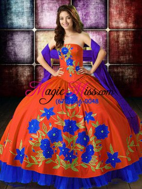 Affordable Multi-color Taffeta Lace Up Strapless Sleeveless Floor Length Quinceanera Dresses Embroidery