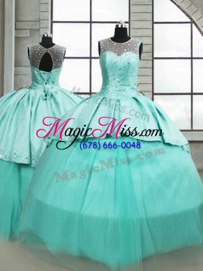 Sleeveless Brush Train Beading Lace Up Sweet 16 Dresses