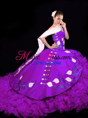 Fitting Eggplant Purple 15 Quinceanera Dress Organza Brush Train Sleeveless Embroidery and Ruffles