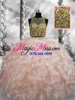 Best Floor Length Peach Sweet 16 Dresses Organza Sleeveless Beading and Ruffles