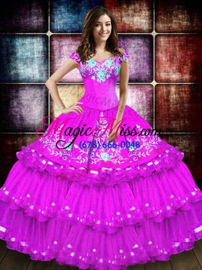 Edgy Floor Length Ball Gowns Sleeveless Fuchsia Vestidos de Quinceanera Lace Up