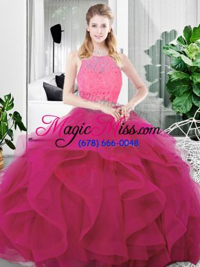 Fuchsia Scoop Neckline Lace and Ruffles 15 Quinceanera Dress Sleeveless Zipper
