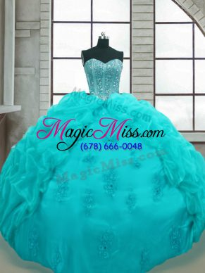 Enchanting Aqua Blue Sweet 16 Dresses Military Ball and Sweet 16 and Quinceanera with Beading and Appliques and Pick Ups Sweetheart Sleeveless Lace Up