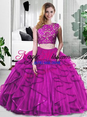 Tulle Scoop Sleeveless Zipper Lace and Ruffles Quinceanera Gown in Fuchsia
