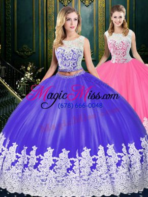 Colorful Floor Length Blue And White Sweet 16 Quinceanera Dress Scoop Sleeveless Clasp Handle