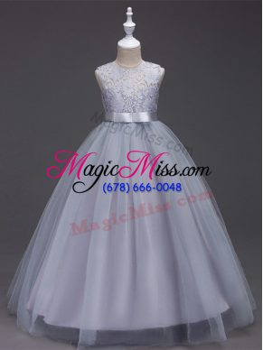 Sleeveless Tulle Floor Length Zipper Flower Girl Dresses in Grey with Lace