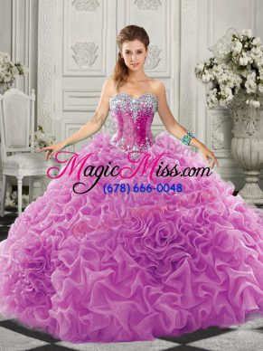 Sleeveless Court Train Lace Up Beading and Ruffles Quince Ball Gowns