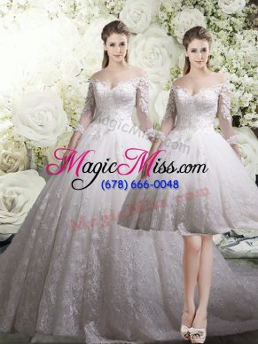 Hot Selling 3 4 Length Sleeve Chapel Train Lace Zipper Bridal Gown