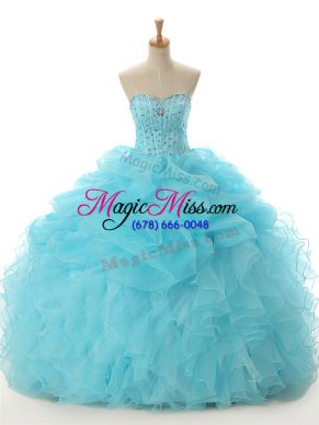 Fine Organza Sweetheart Sleeveless Lace Up Beading and Ruffled Layers Sweet 16 Quinceanera Dress in Aqua Blue