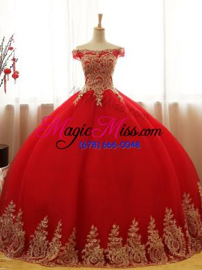 Custom Made Sleeveless Tulle Floor Length Lace Up Quince Ball Gowns in Red with Appliques