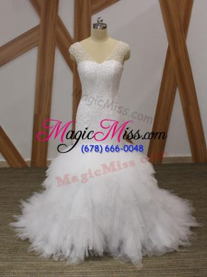 V-neck Sleeveless Brush Train Lace Up Wedding Gowns White Tulle