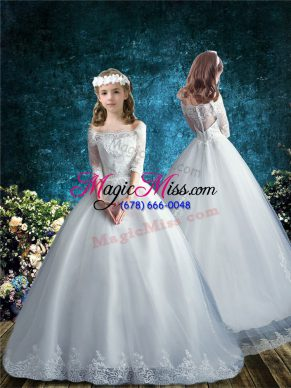 Traditional Brush Train Ball Gowns Toddler Flower Girl Dress White Off The Shoulder Tulle Half Sleeves Clasp Handle