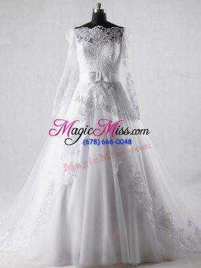 A-line Long Sleeves White Wedding Dress Brush Train Zipper