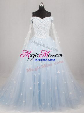 Custom Designed Light Blue Sleeveless Tulle Watteau Train Lace Up Wedding Gowns for Wedding Party