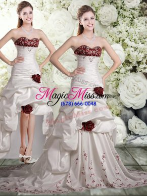 Fantastic Embroidery and Ruffles and Hand Made Flower Wedding Gowns White And Red Backless Sleeveless Brush Train