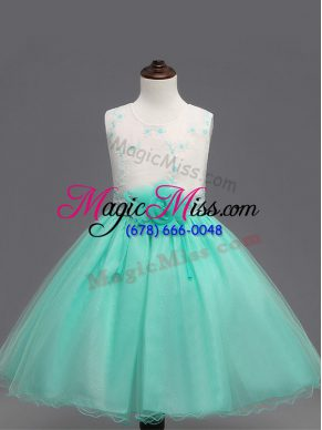 Organza Sleeveless Knee Length Kids Formal Wear and Appliques and Hand Made Flower