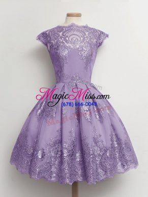 Fashion Lavender Lace Up Scalloped Lace Quinceanera Dama Dress Lace Cap Sleeves