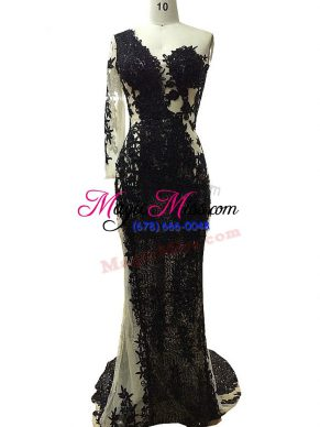 Custom Fit Black Tulle Side Zipper One Shoulder Long Sleeves Floor Length Hoco Dress Beading and Appliques