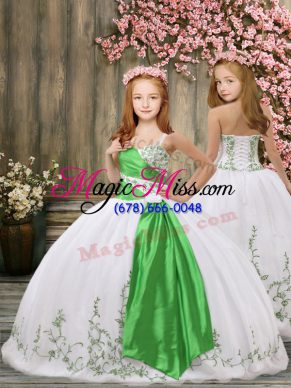 Trendy Straps Sleeveless Kids Formal Wear Floor Length Embroidery and Belt White Organza