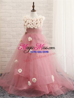 Lovely Brush Train A-line Kids Pageant Dress Pink Scoop Tulle Sleeveless Zipper