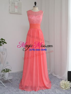 Charming Watermelon Red Scoop Zipper Lace Bridesmaid Gown Sleeveless