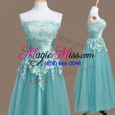 Empire Vestidos de Damas Light Blue Strapless Tulle Sleeveless Tea Length Lace Up