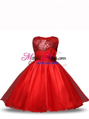 Organza Scoop Sleeveless Zipper Sequins and Hand Made Flower Girls Pageant Dresses in Red
