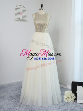 Exquisite Scoop Sleeveless Bridesmaid Dresses Floor Length Sequins Light Yellow Tulle