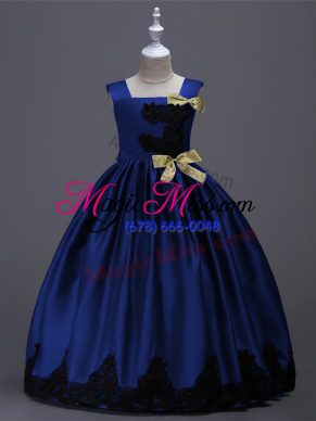 Royal Blue A-line Taffeta Square Sleeveless Appliques and Bowknot Floor Length Zipper Toddler Flower Girl Dress